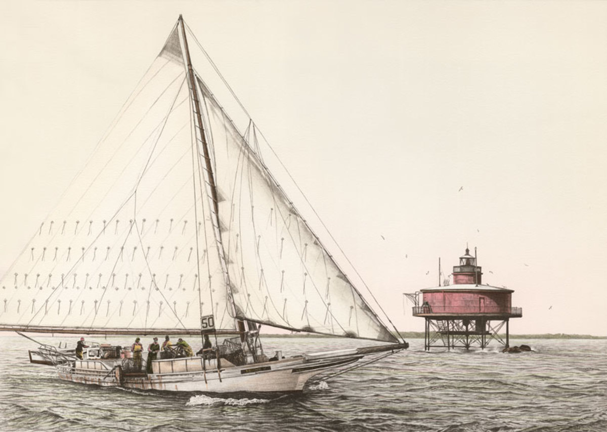 Rigged for dredging oysters under sail, Minnie V. passes Seven Foot Knoll Light in Chesapeake Bay.