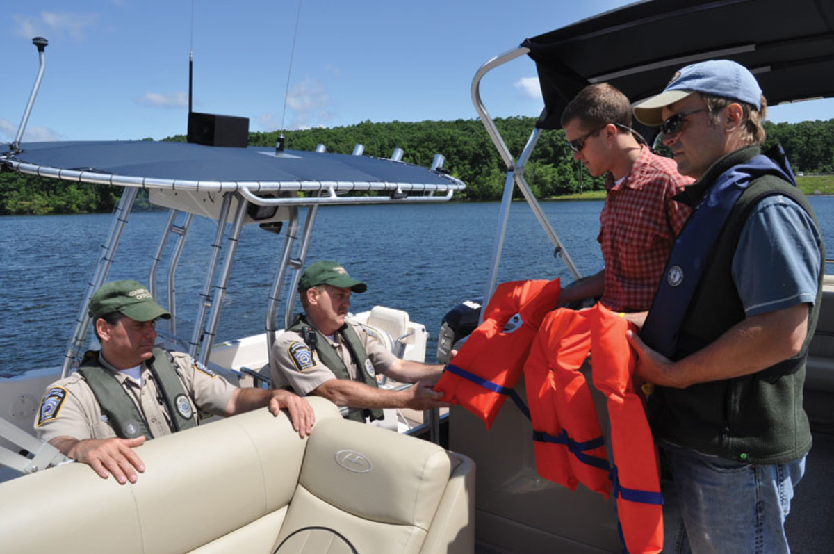 Pennsylvania Fish & Boat Commission waterways conservation officers perform a safety check.