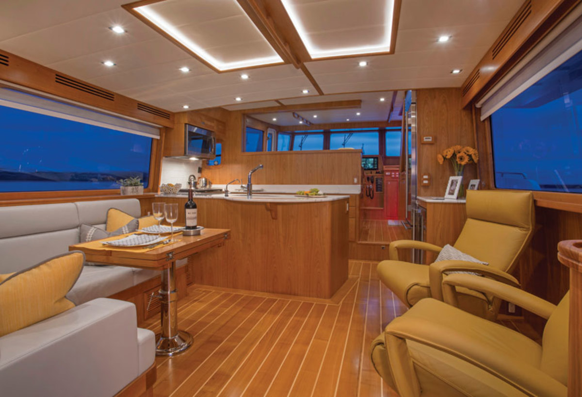 The saloon is open to the pilothouse, but can be partitioned at the touch of a button by a wall panel that rises between the two spaces.
