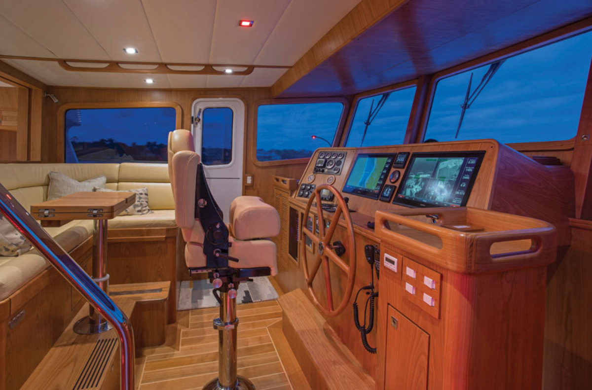 The pilothouse has close to a 360-degree view.