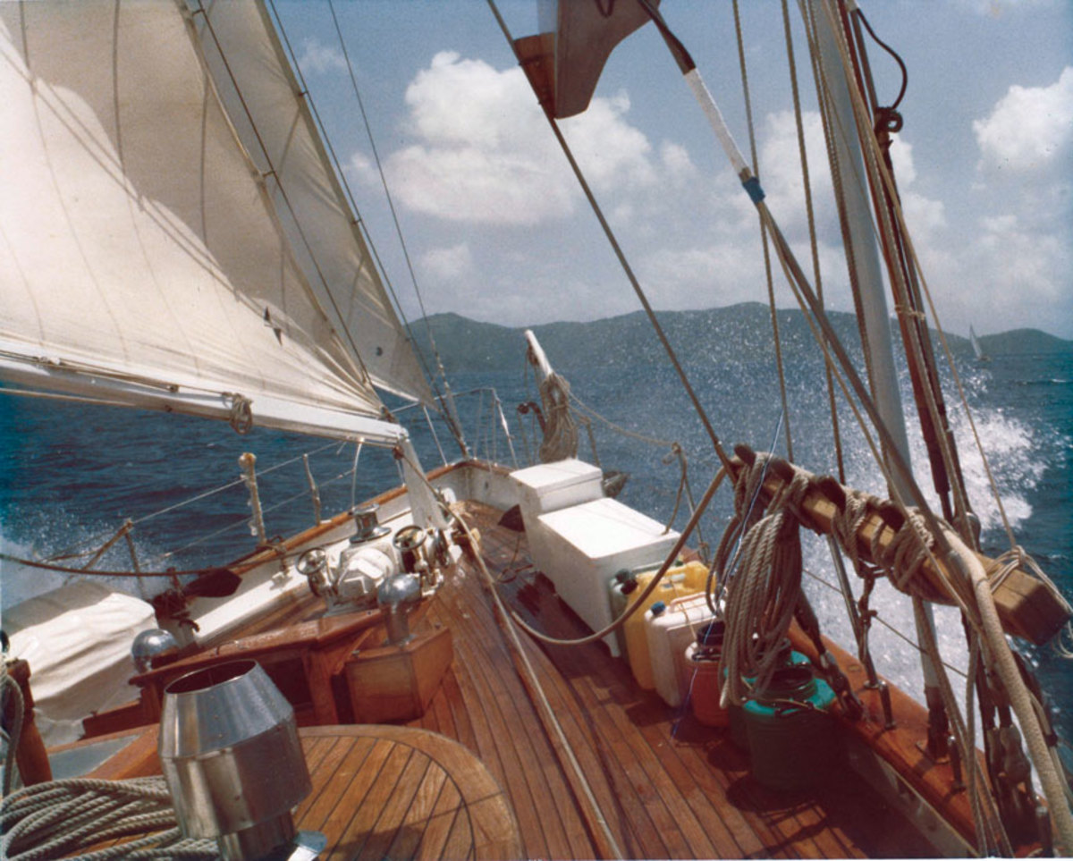 High Barbaree, Capt. Lou  Boudreau's 78-foot Philip Rhodes ketch, makes her way upwind in the BVI.