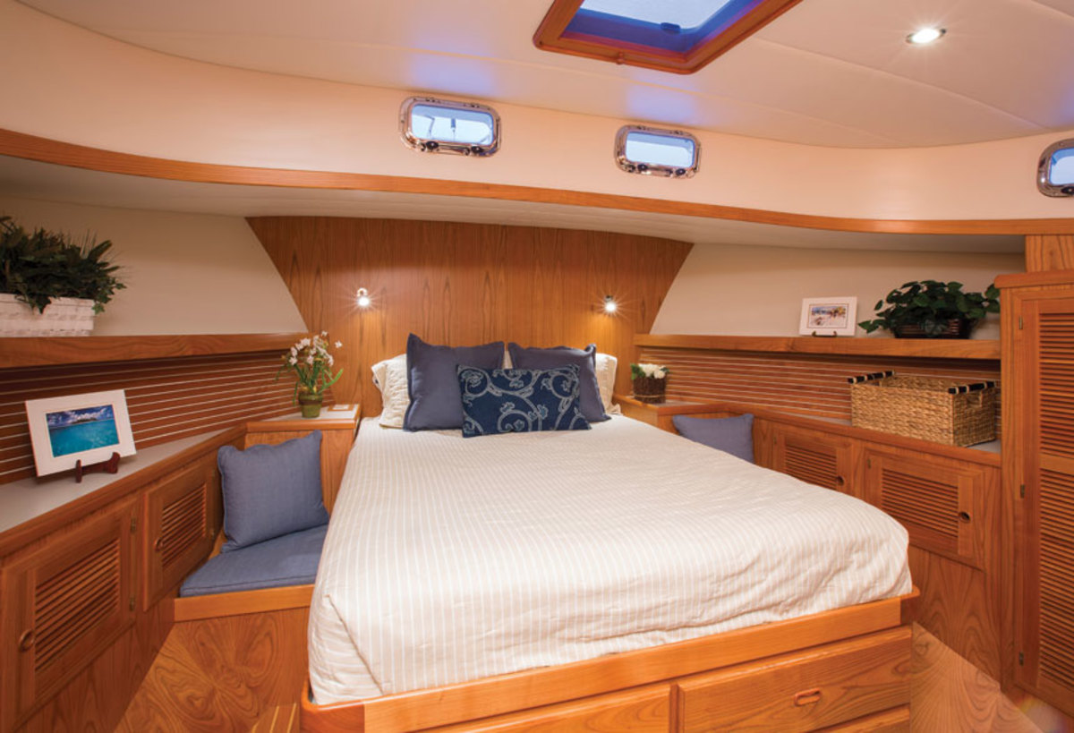 A queen-size island berth, lots of natural light and ample stowage are the highlights of the master stateroom.