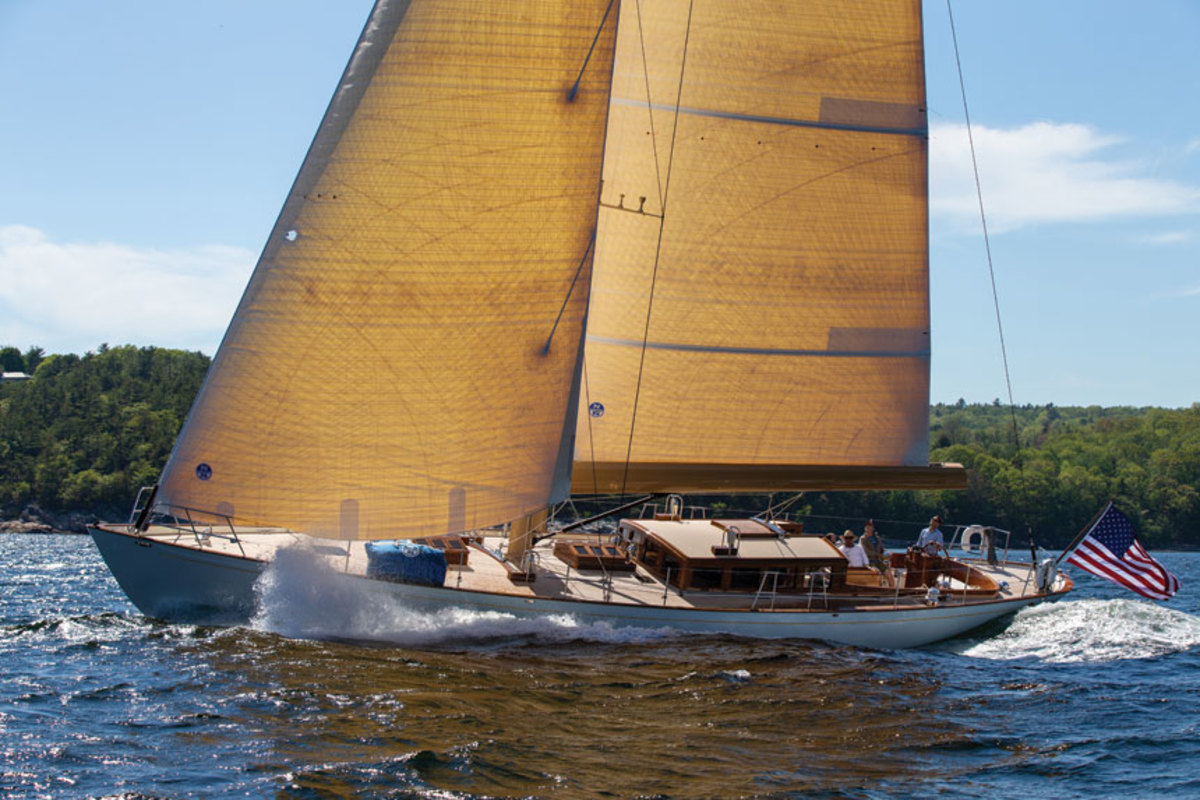 Anna, a 65-foot classic  daysailer was just launched from the Lyman-Morse yard.