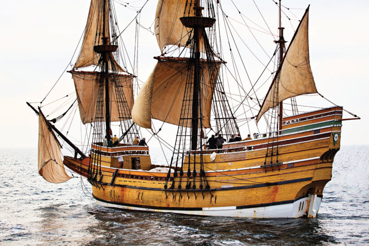 Mayflower II's massive frames are spaced close together and reveal the full shape of her hull.