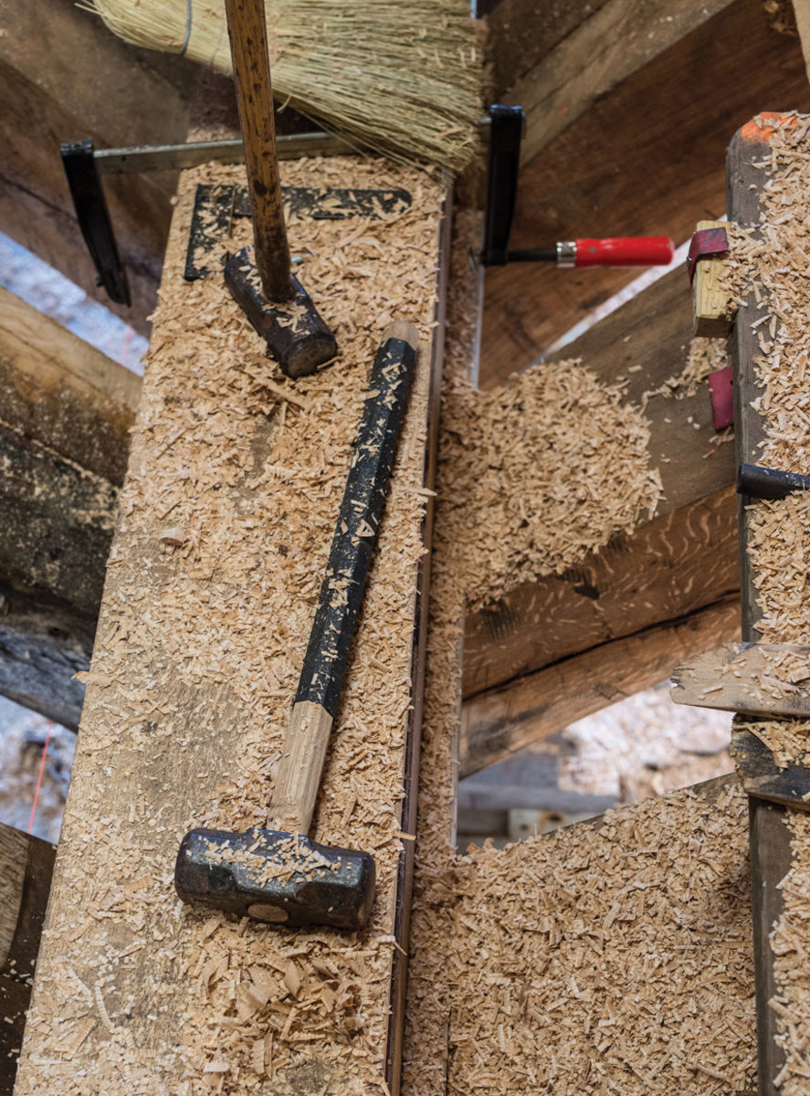 Sledgehammers are essential. Trunnels and spikes are all driven by hand.