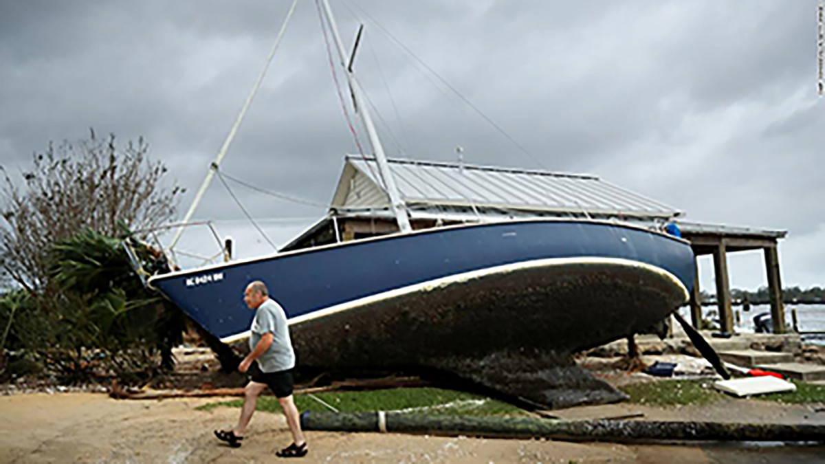 Hurricane Florence left this sailboat high and dry in New Bern, North Carolina.