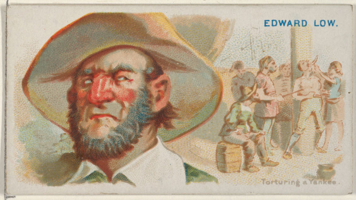 "Allen & Ginter cigarette card insert, circa 1888, showing Edward Low and a scene of him ""torturing a Yankee."""