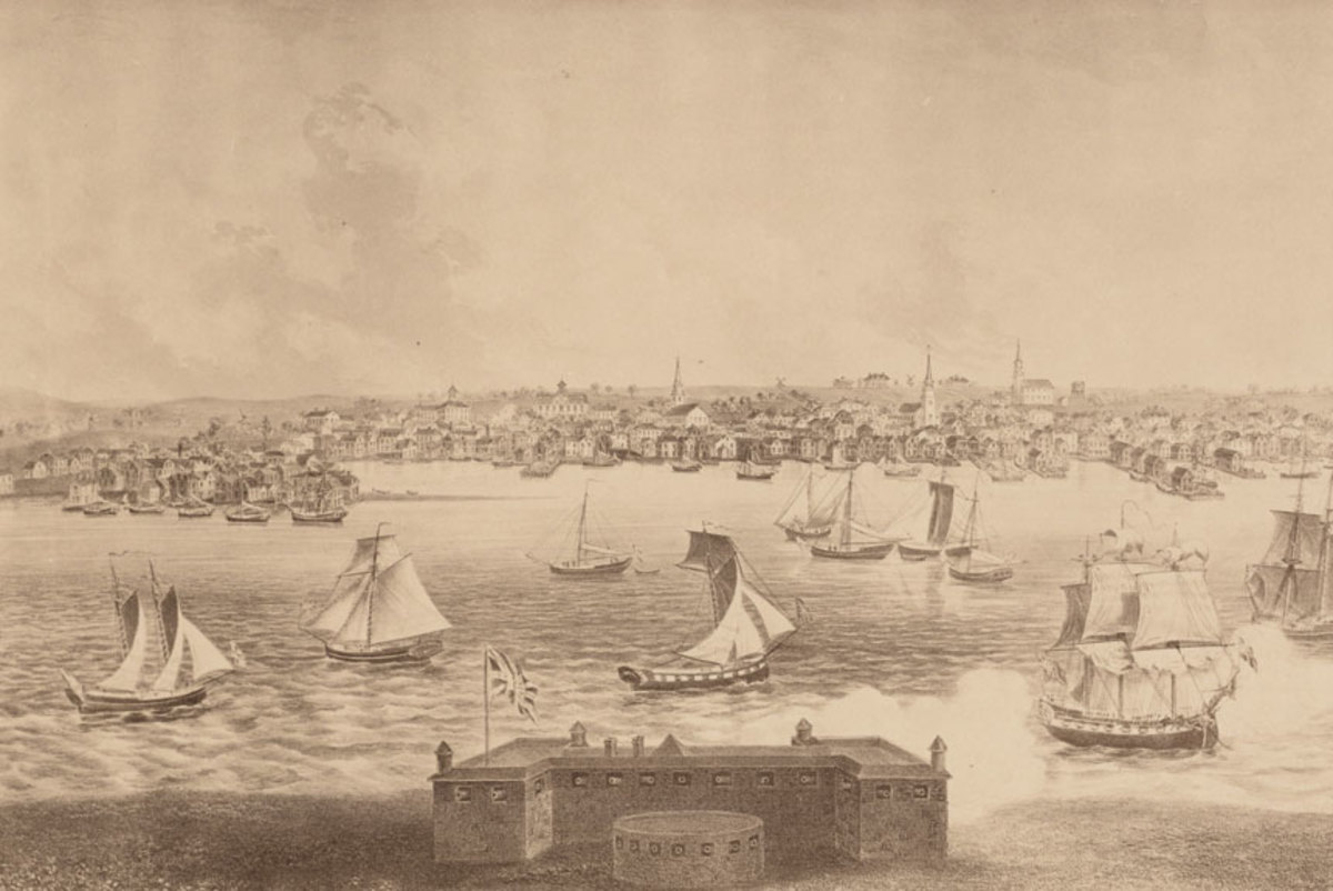 An 1884 lithograph depicting Newport, Rhode Island, in 1730. Thirty-six men were tried for piracy there in 1723 and twenty-six were convicted and hanged.