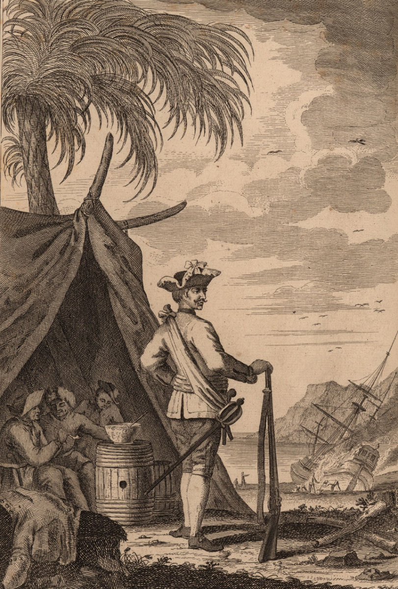 Pirate captain George Lowther in Amatique Bay, Guatemala. In the background you can see his ship being careened.