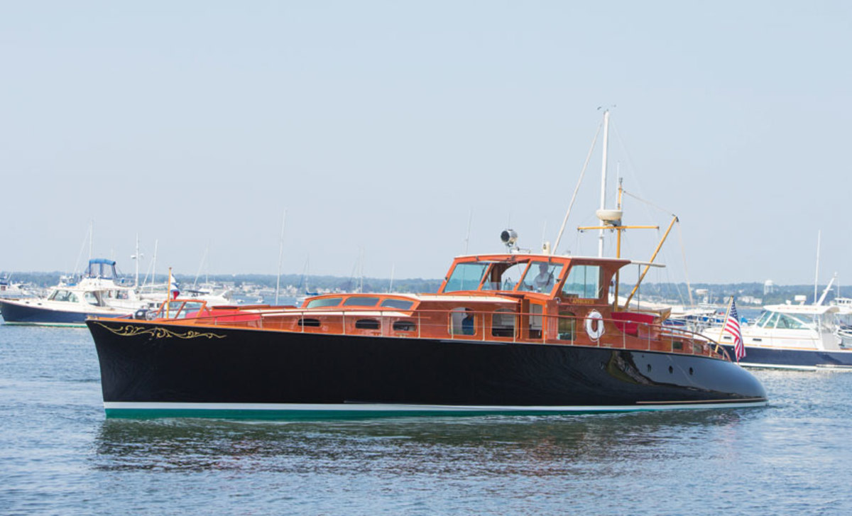 The Purdy Boat Company built Aphrodite in 1937; Brooklin Boat Yard restored her in 2003.