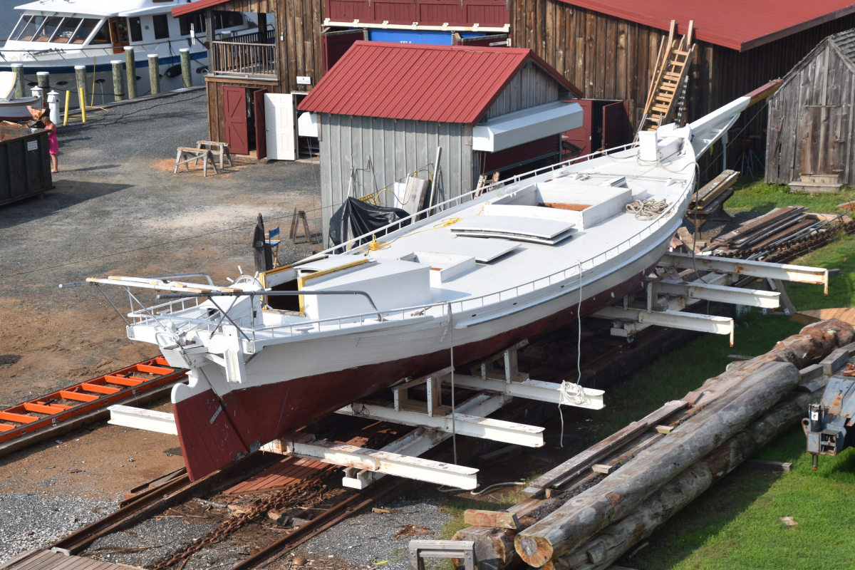 Edna E. Lockwood up on the Chesapeake May Maritime Museum's railway, waiting for relaunch.