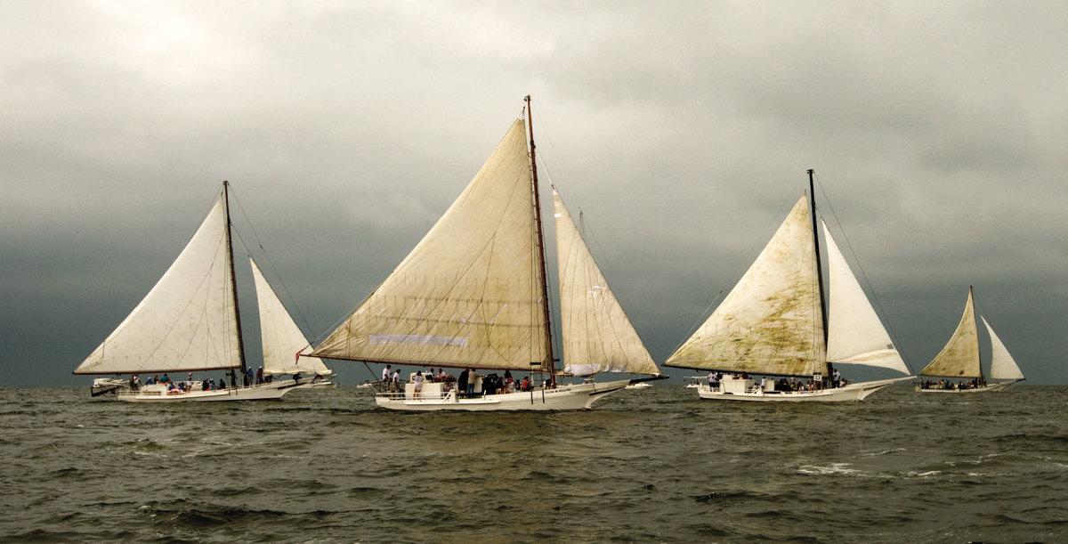 Skipjacks racing on Labor Day weekend off Deal Island, Maryland.