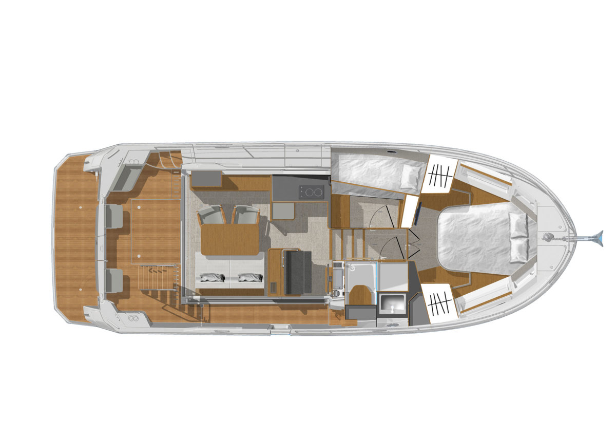Illustration of Beneteau Swift Trawler 35 Top View