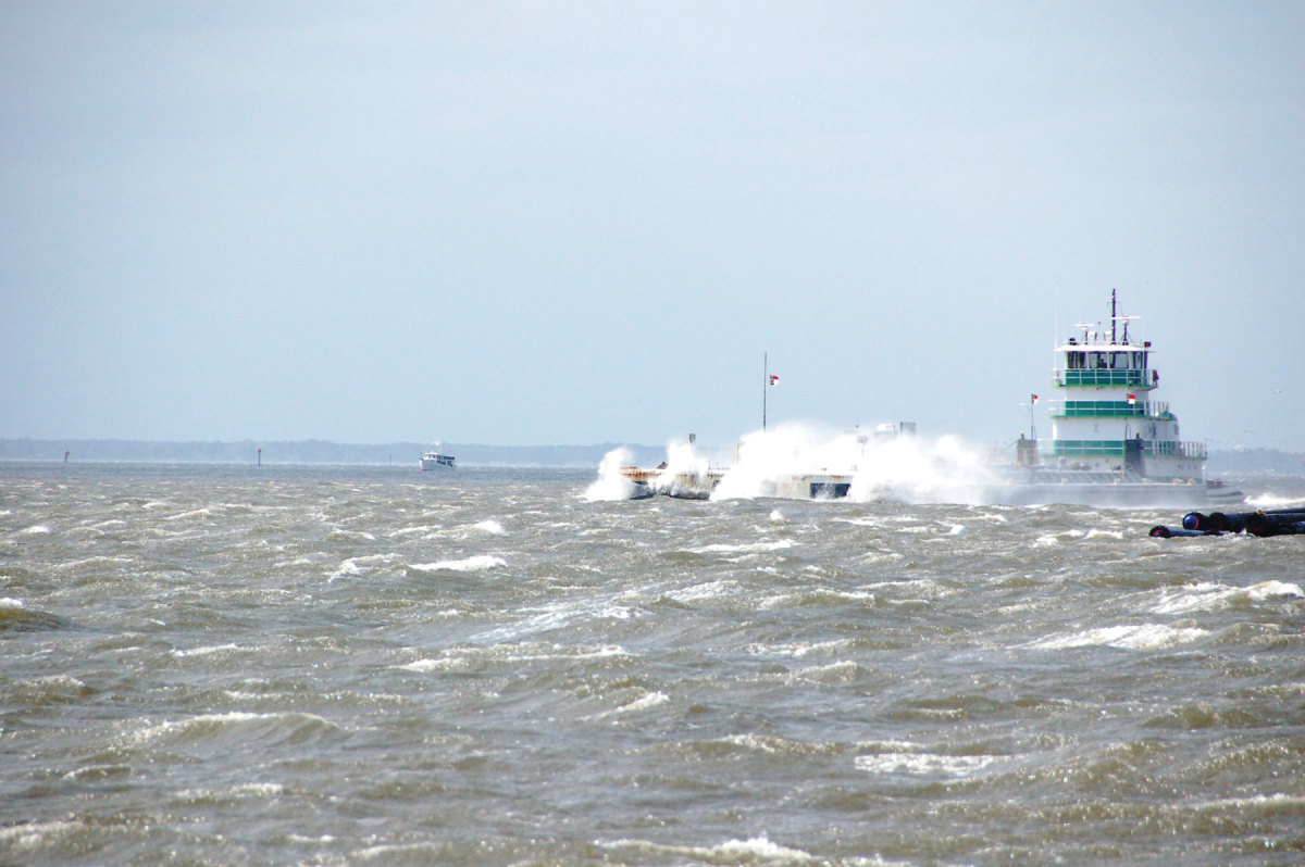 The wind blew at gale force all day, as vessels of all sorts sought refuge in the protected creek.