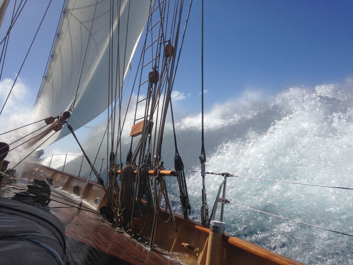 The author, who took this shot while  crewing aboard the 213-foot Adix, dreams of returning Tally Ho to world voyaging.