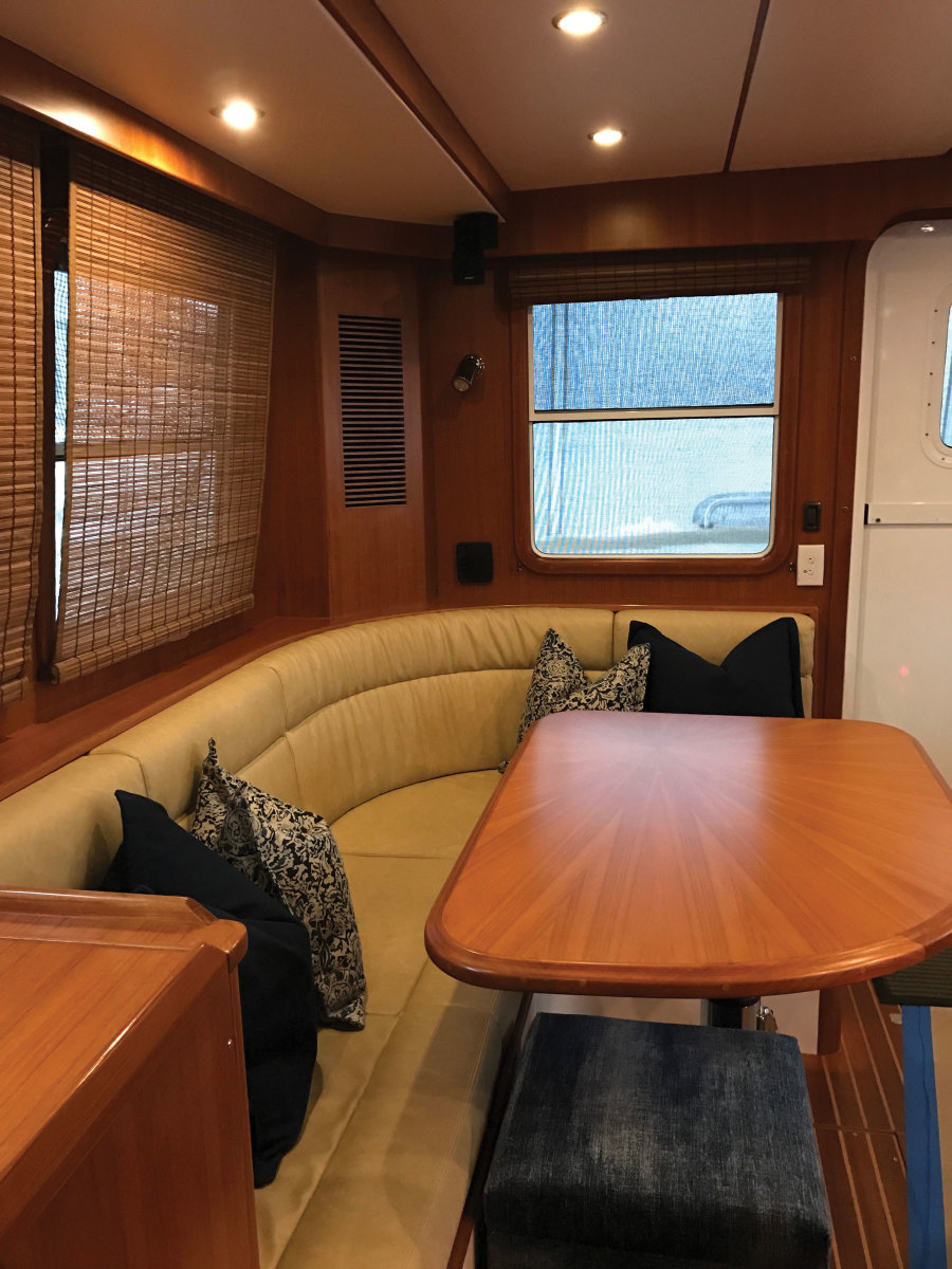The interior portion of the refit included new electronics, galley appliances, upholstery and cushions, as well
