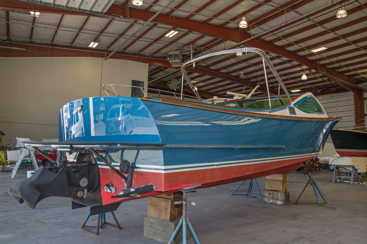 The hull was refinished in Awlgrip Petrol Blue, and the bottom will get black antifouling paint. The Hamilton Jet Drive was overhauled and is powered by a new Yanmar.