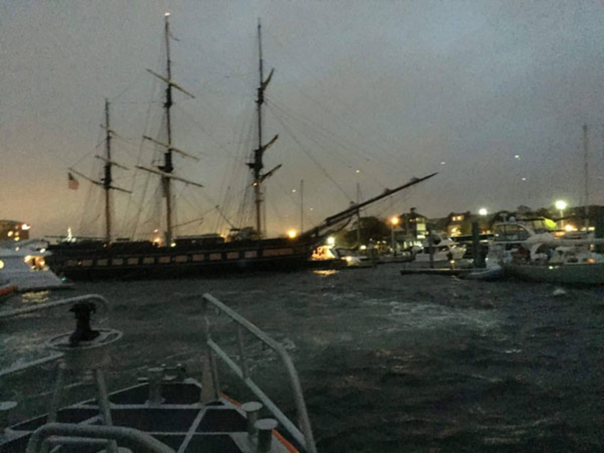 Oliver Hazard Perry after losing power in Newport Harbor.