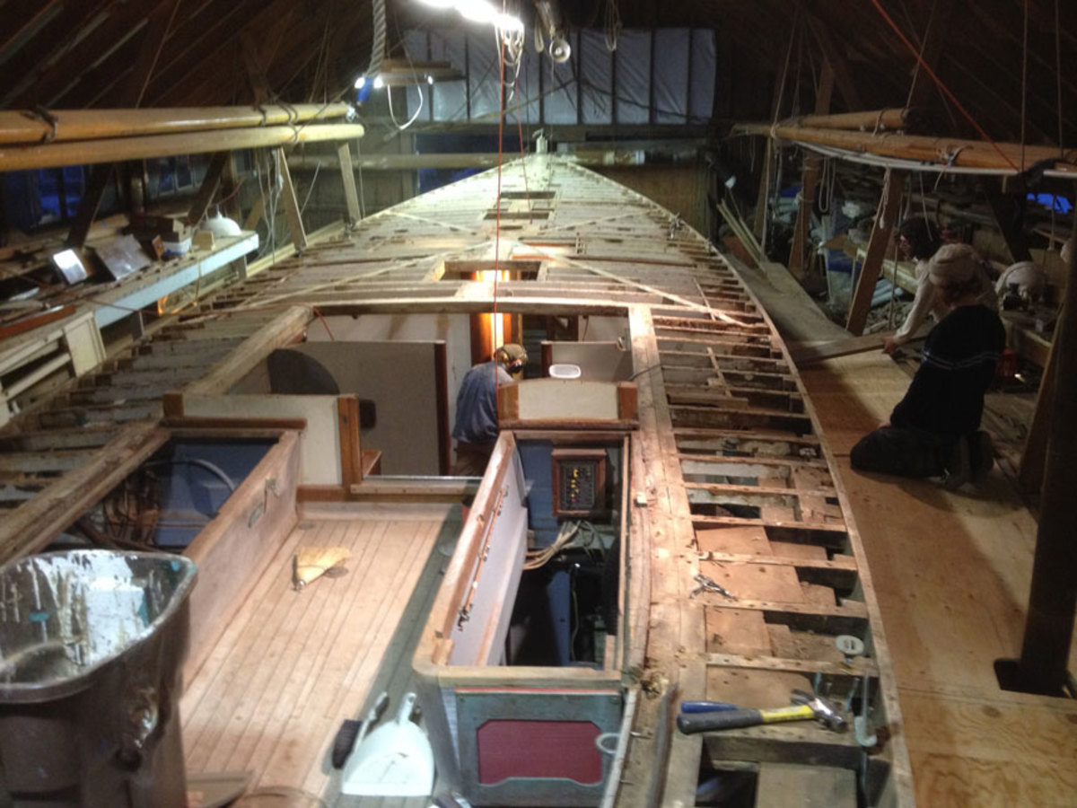 The interior work was completed as much as possible before the teak deck was laid over the new framing.