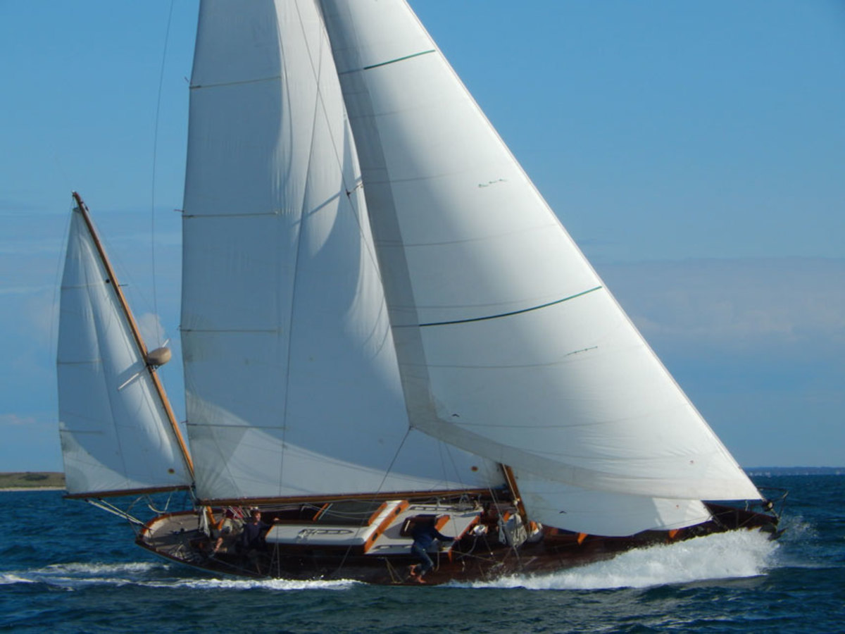 The 52-foot Sparkman & Stephens-designed Mah Jong under sail off Martha's Vineyard, Massachusetts.
