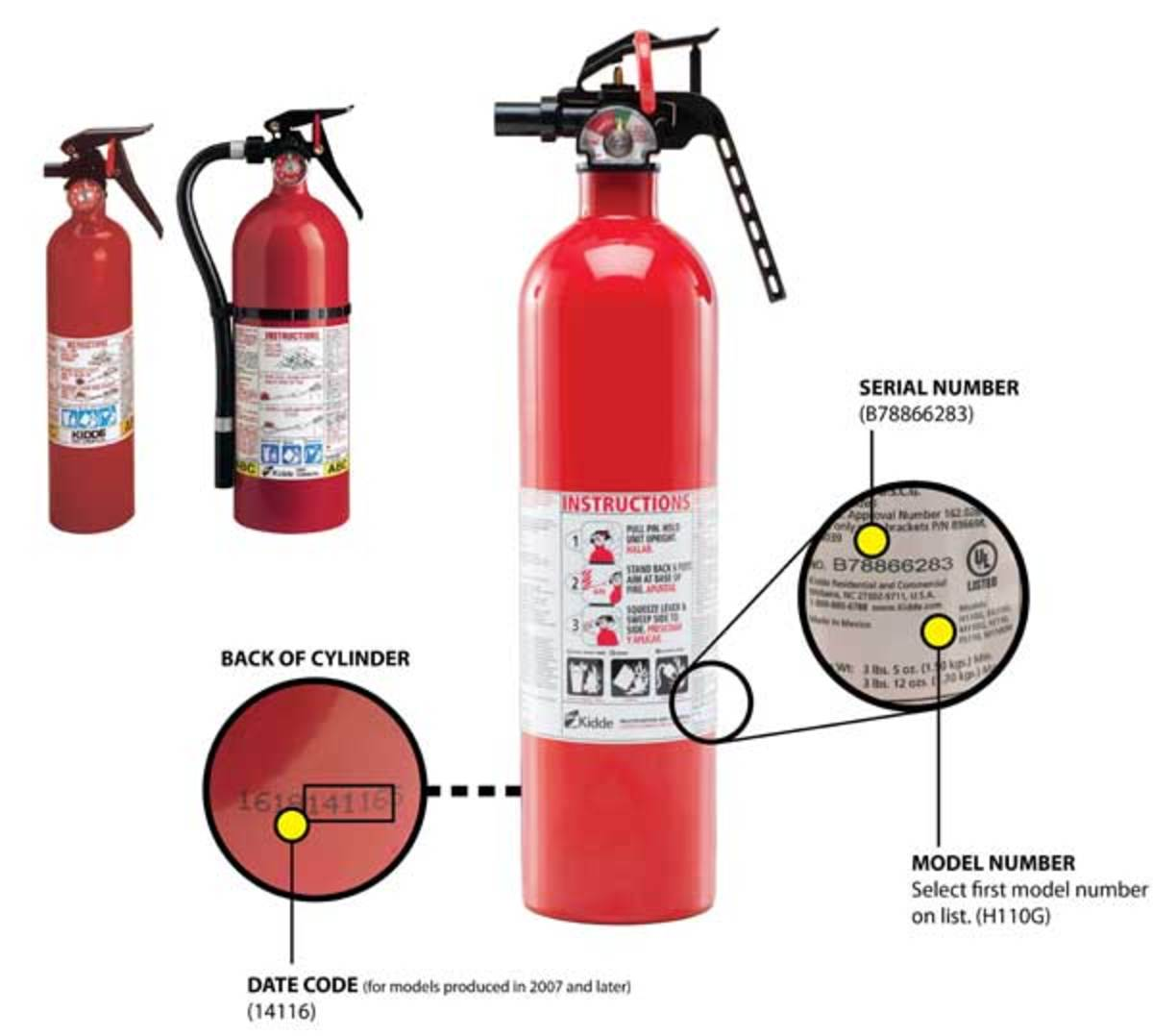 Check the date, serial number and model number to see if your fire extinguisher is affected by the recall.