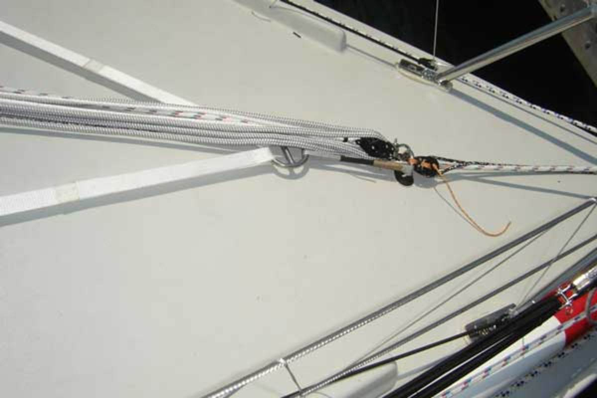 Jacklines should be carefully rigged under control lines and sheets so that a sudden tack or jibe doesn't interfere with the tether.