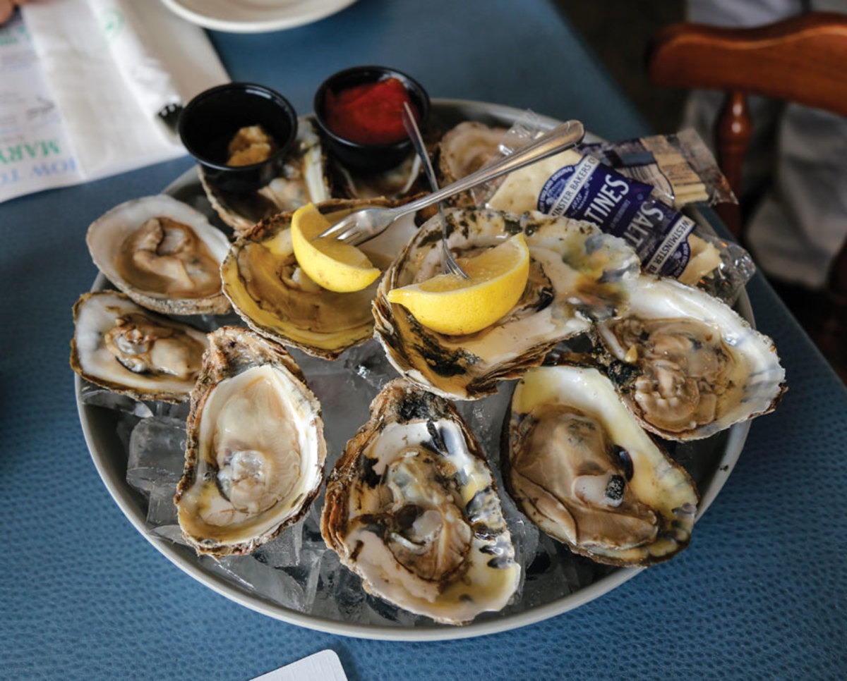 A plate of fresh, salty  oysters from the Miles River.