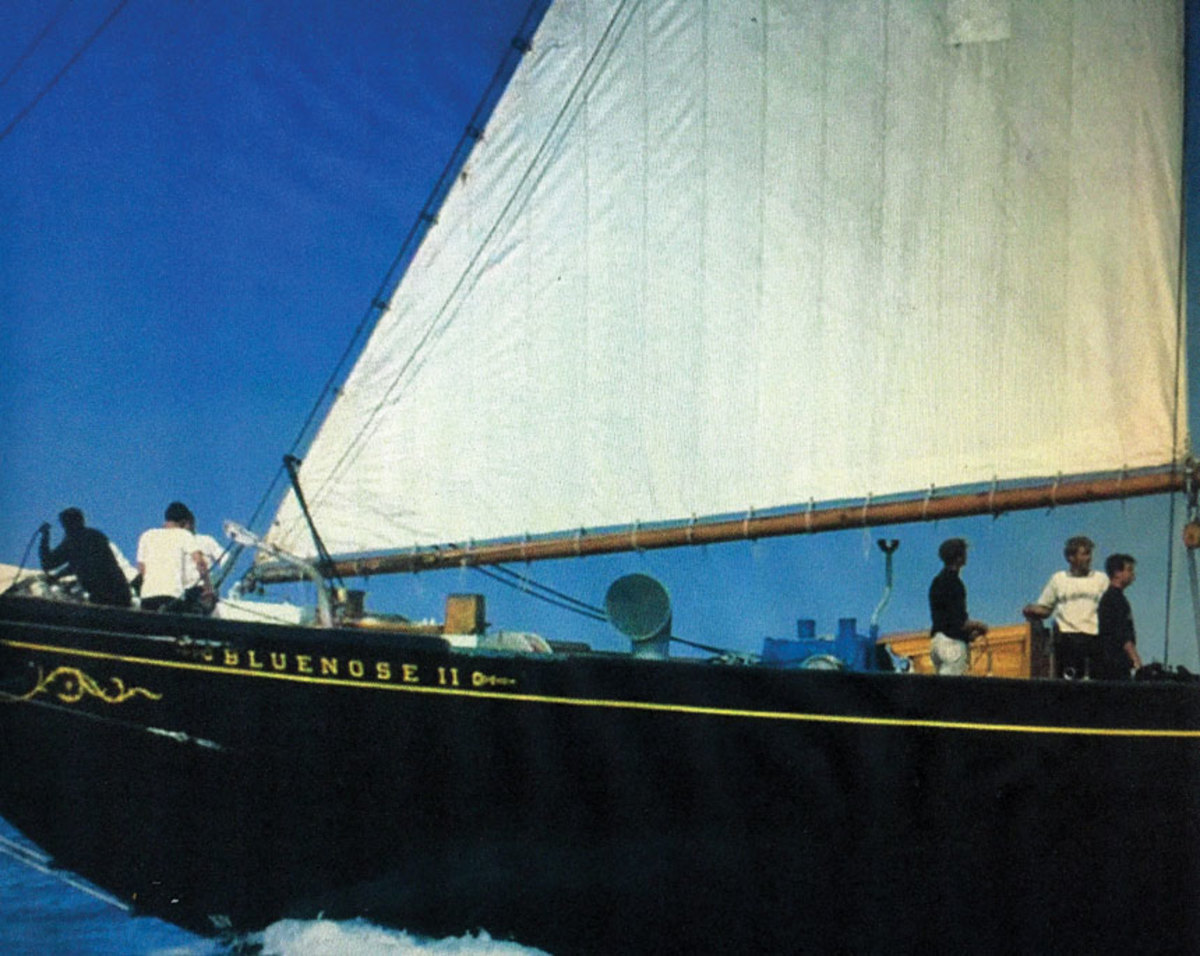 Setting the sails aboard the Bluenose II was a well-rehearsed dance. (The author is at right, wearing a white shirt.)