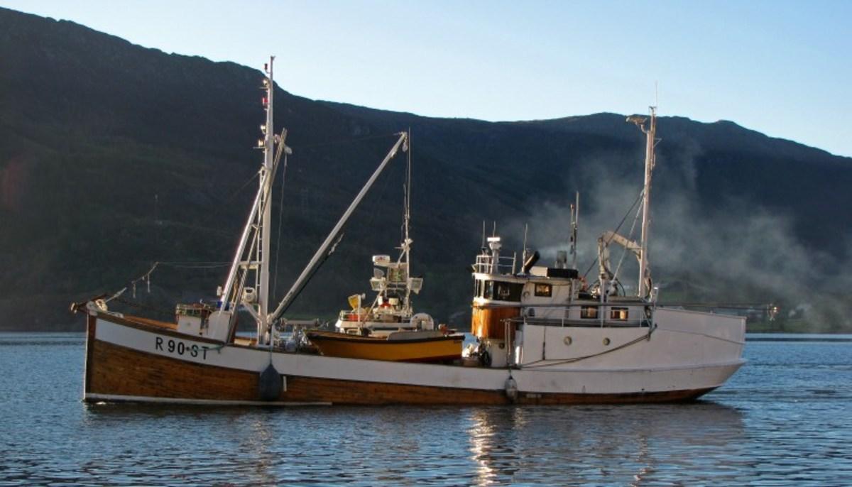 Fremad II motors down a Norwegian fjord.