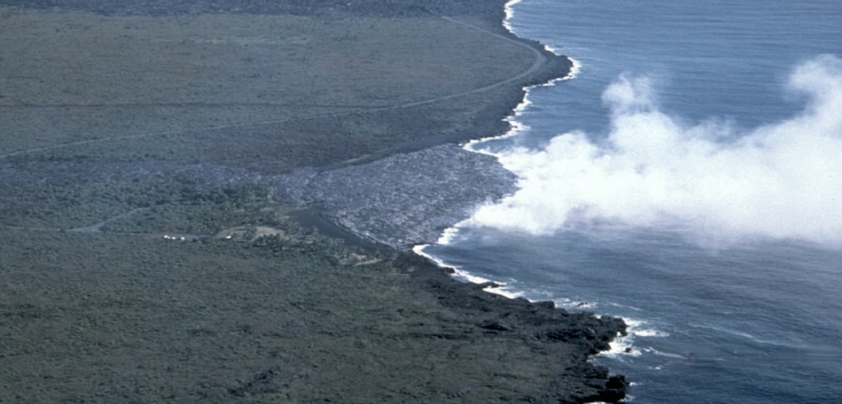The Kamokuna Lava Delta of Hawaii — not safe for boating.