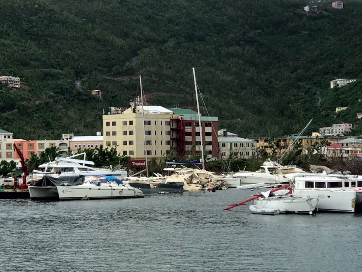 Chanticleer was tied up at Village Cay Marina on Tortola, where there was heavy damage.