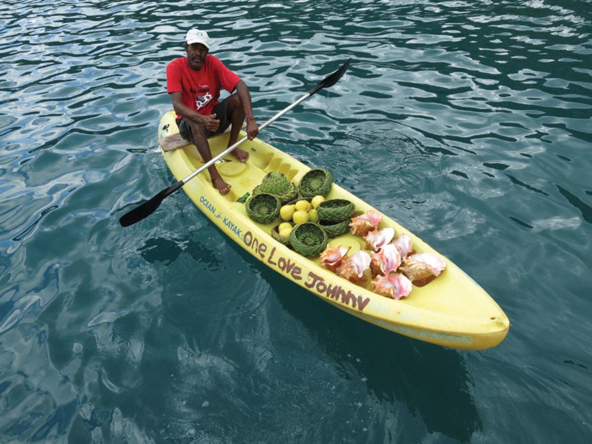 Boat-borne vendors are common down-island.