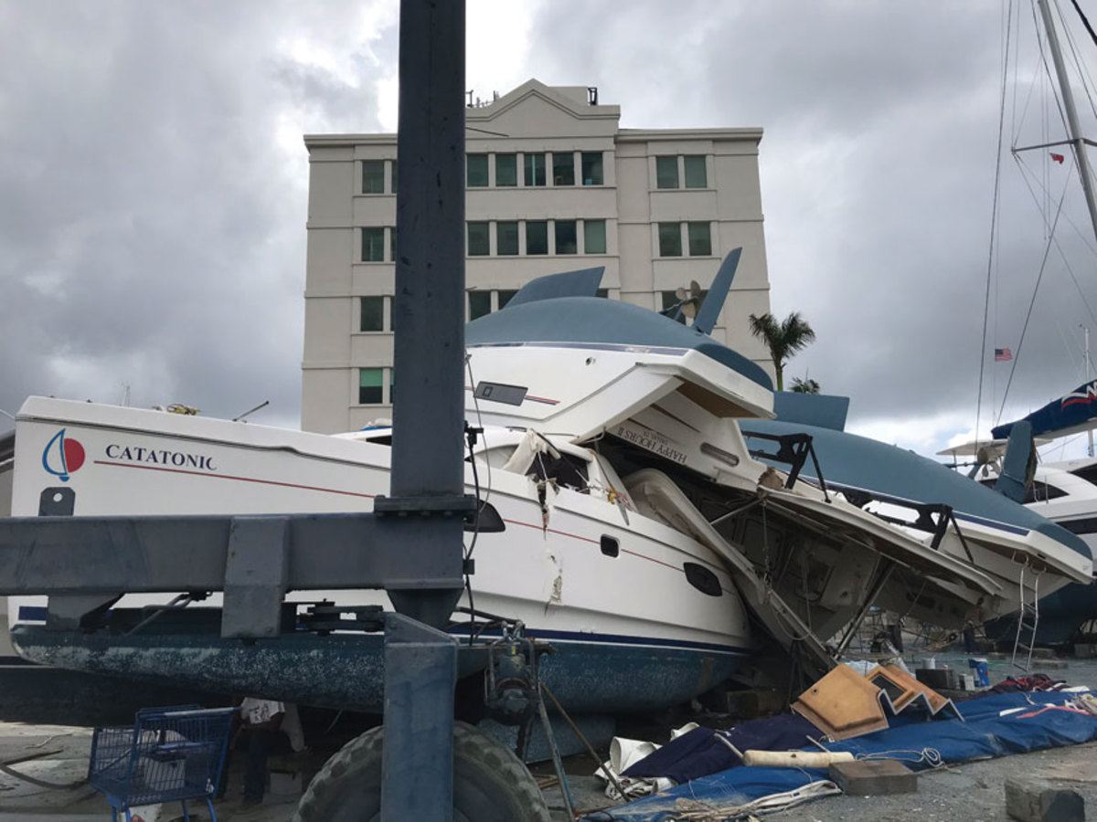 Damaged boats were still piled up in Road Town, Tortola.