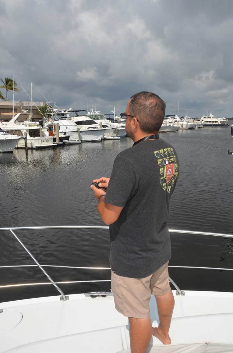 The author says navigating his boat by remote took some practice.