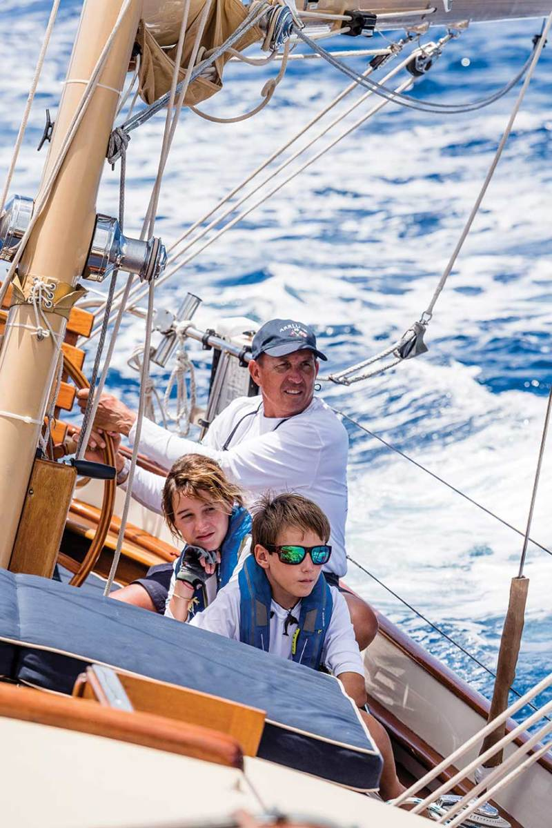 Steve Frary was at the helm while his kids, Elizabeth and Nathaniel, trimmed the sails.