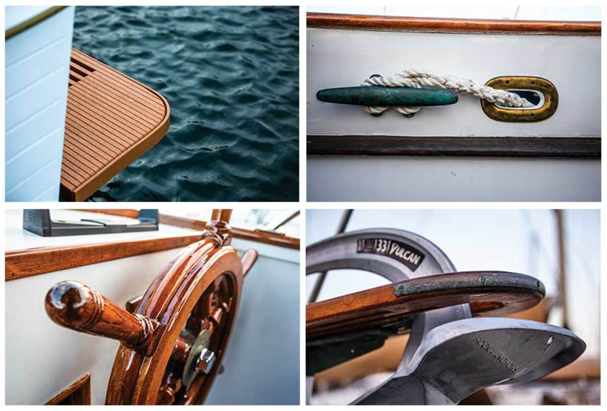 The Paulsens left many of the traditional Grand Banks touches intact on their boat, including the classic wood helm wheel.