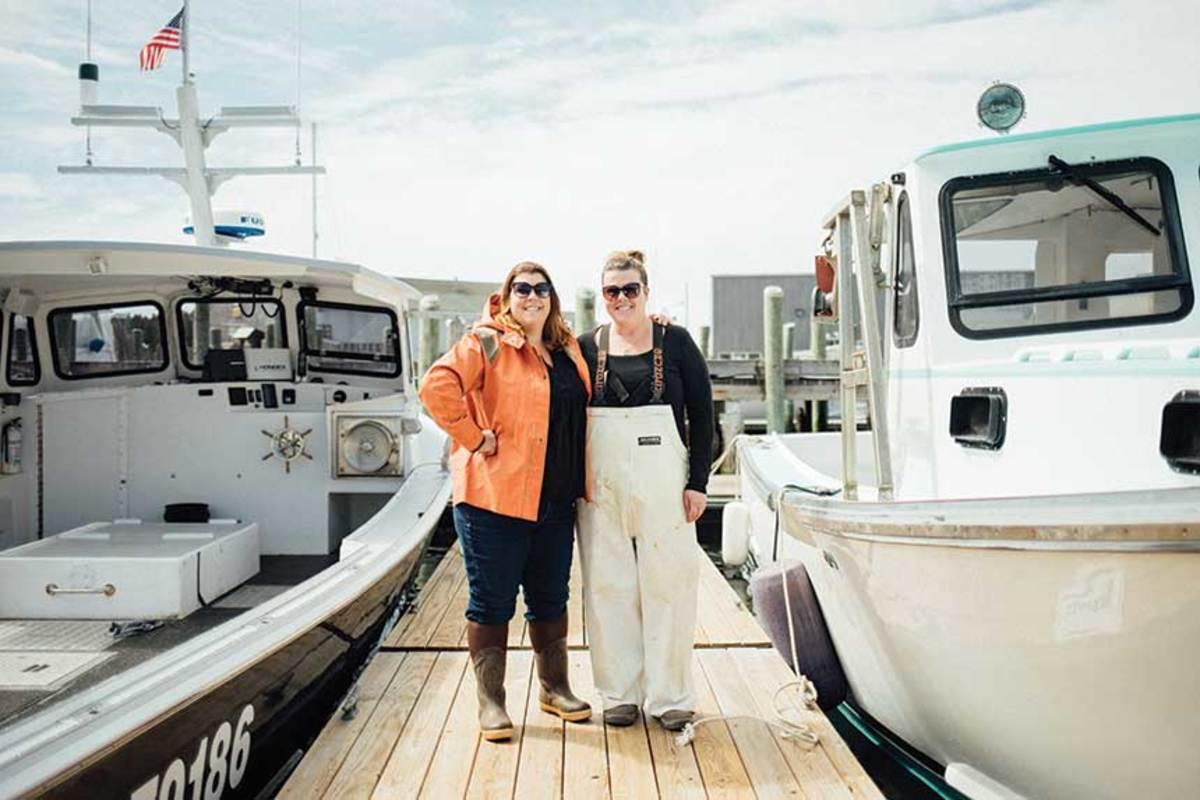 Maine State RepresentativeGenevieve McDonald of Stonington has been running her own boats for 14 years; Leslie Rice (right) is her sternman .
