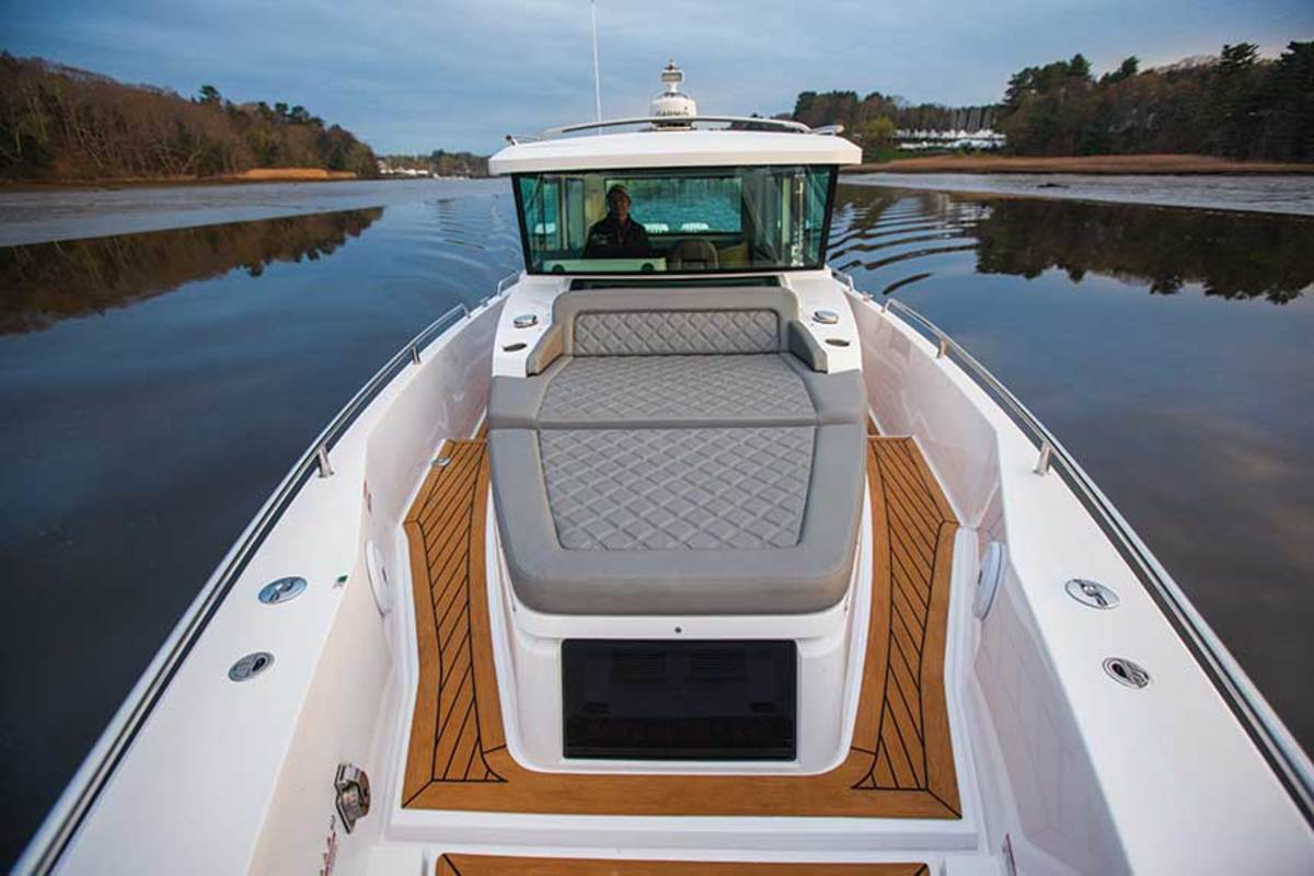 Twin 350-hp Mercurys and a long, narrow hull offer a top speed of 45 knots.