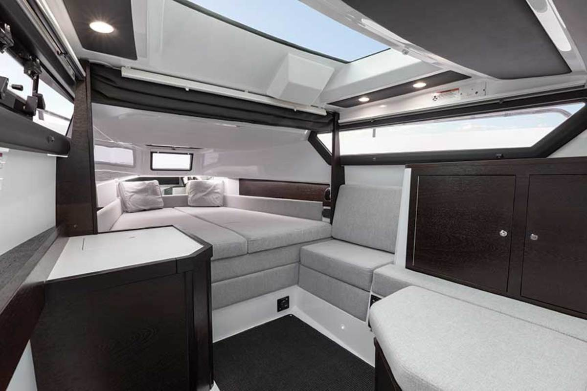 The forward cabin gets plenty of natural light.
