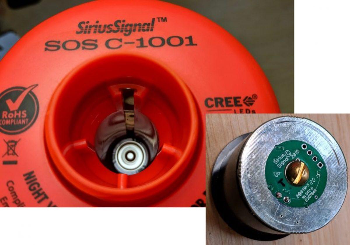 Sirius Signal SOS distress light switch detail