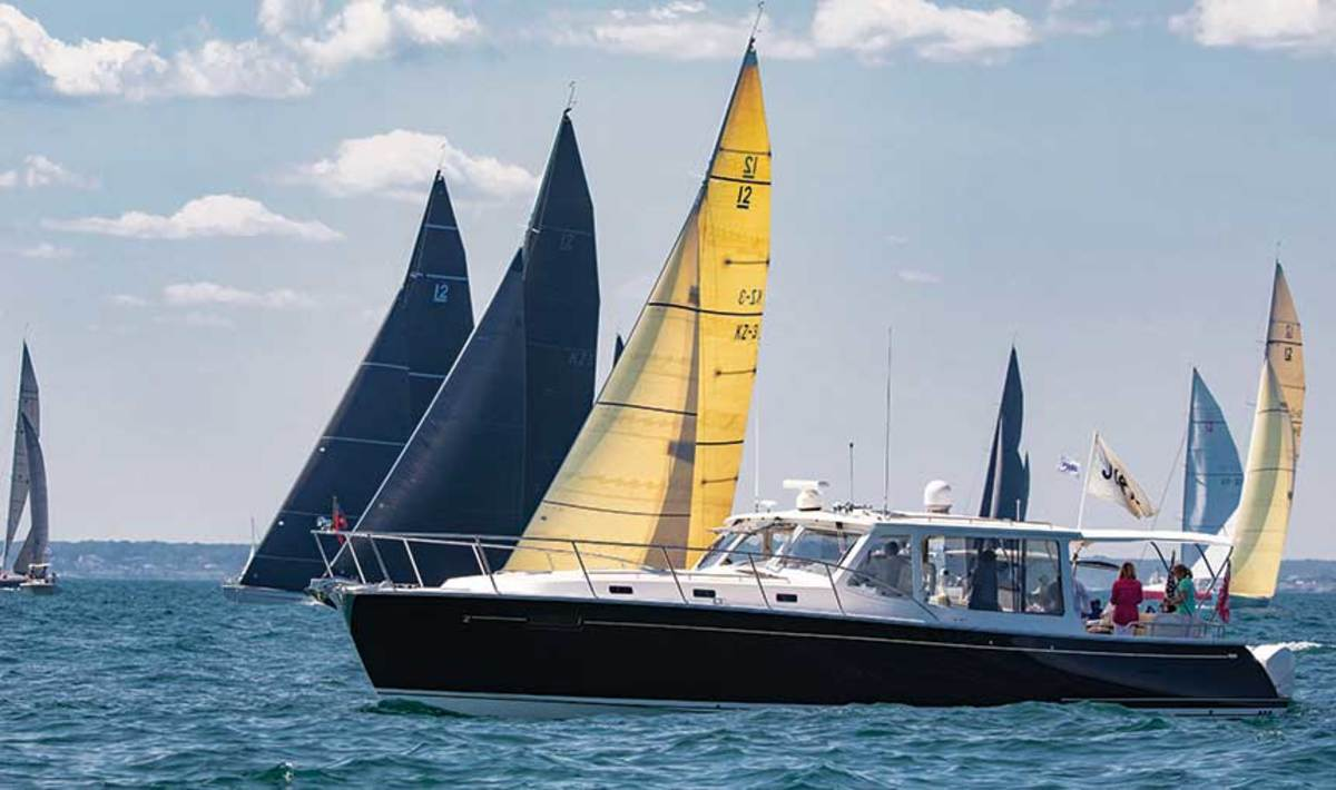 The MJM 53z served as the official boat of the international jury for the 2019 12 Metre World Championships in Newport, Rhode Island.