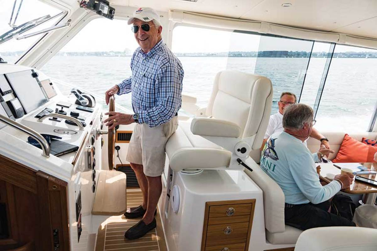 Bob Johnstone at the helm of his new flagship.