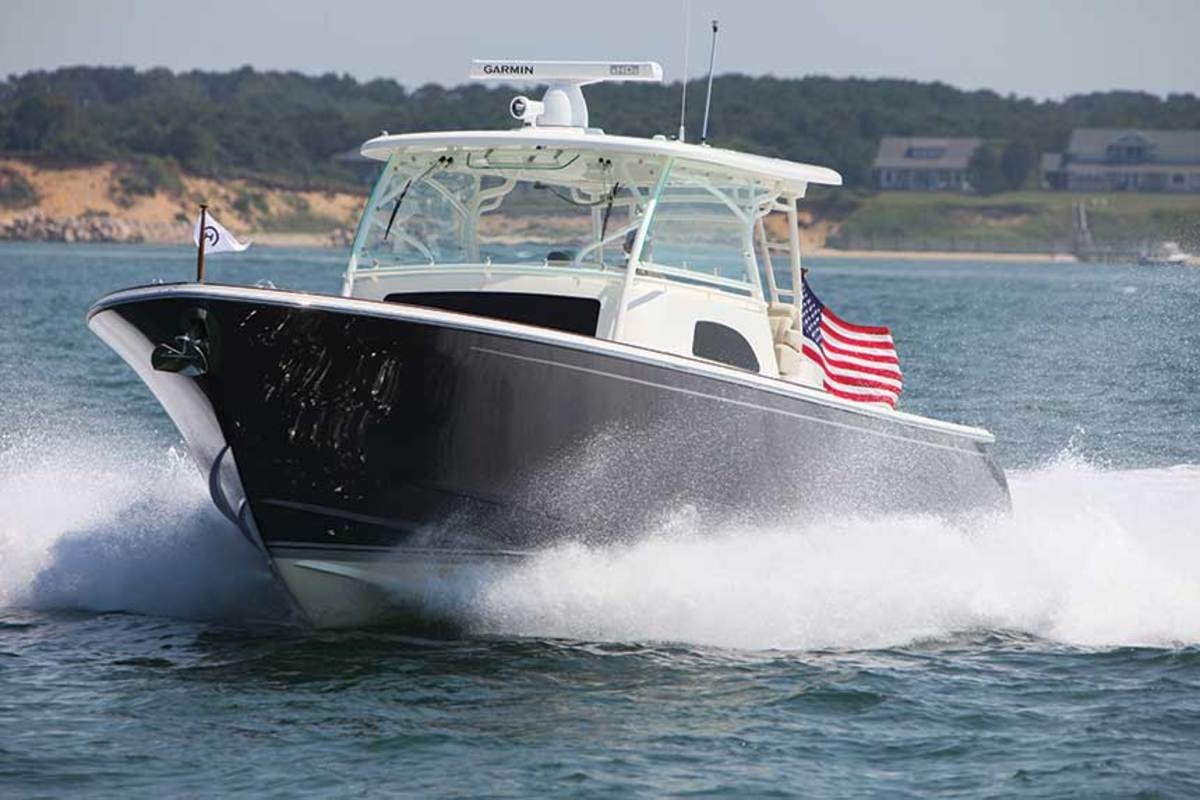 The Sport Boat 40c shares a hull design with the 40x, courtesy of Ray Hunt Design, part of the Hinckley Company.