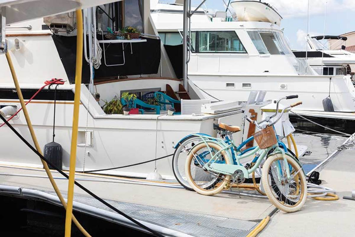 Bikes help expand the couple's range while in port.
