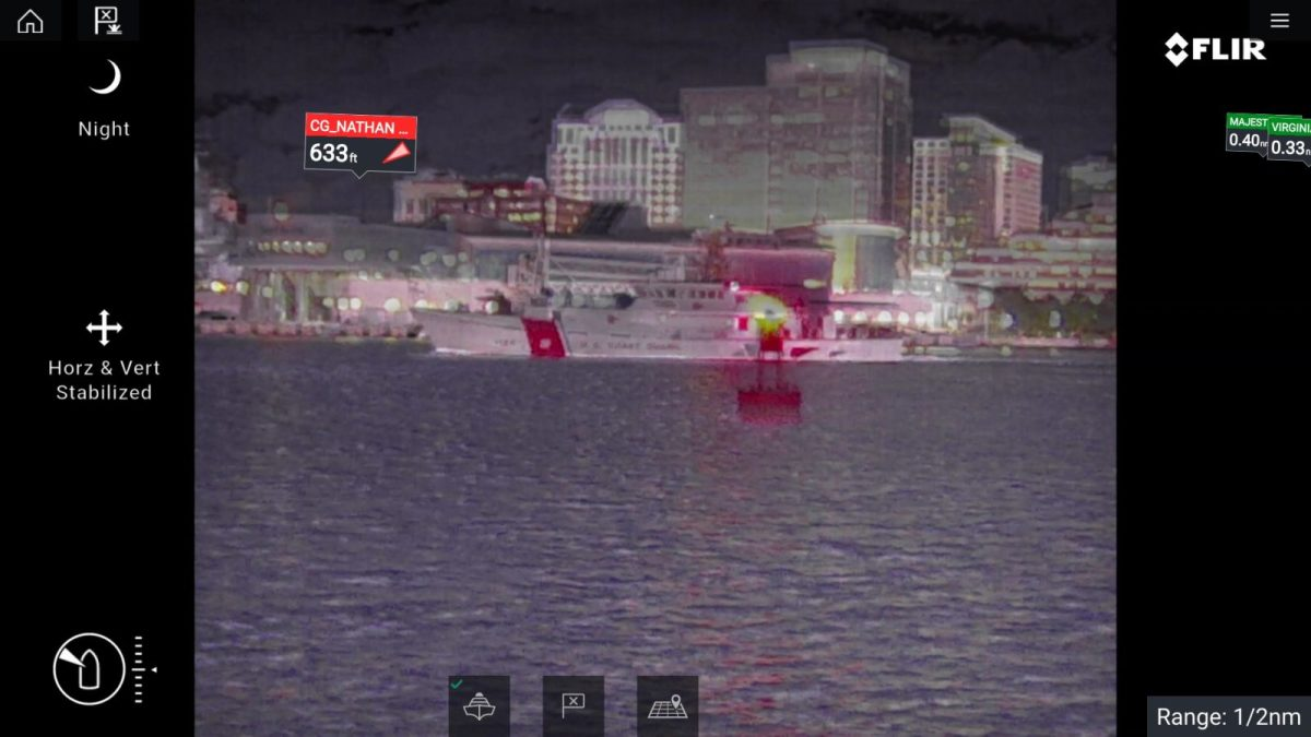 An Axiom with a FLIR M364C showing the glow from the red LED on the buoy