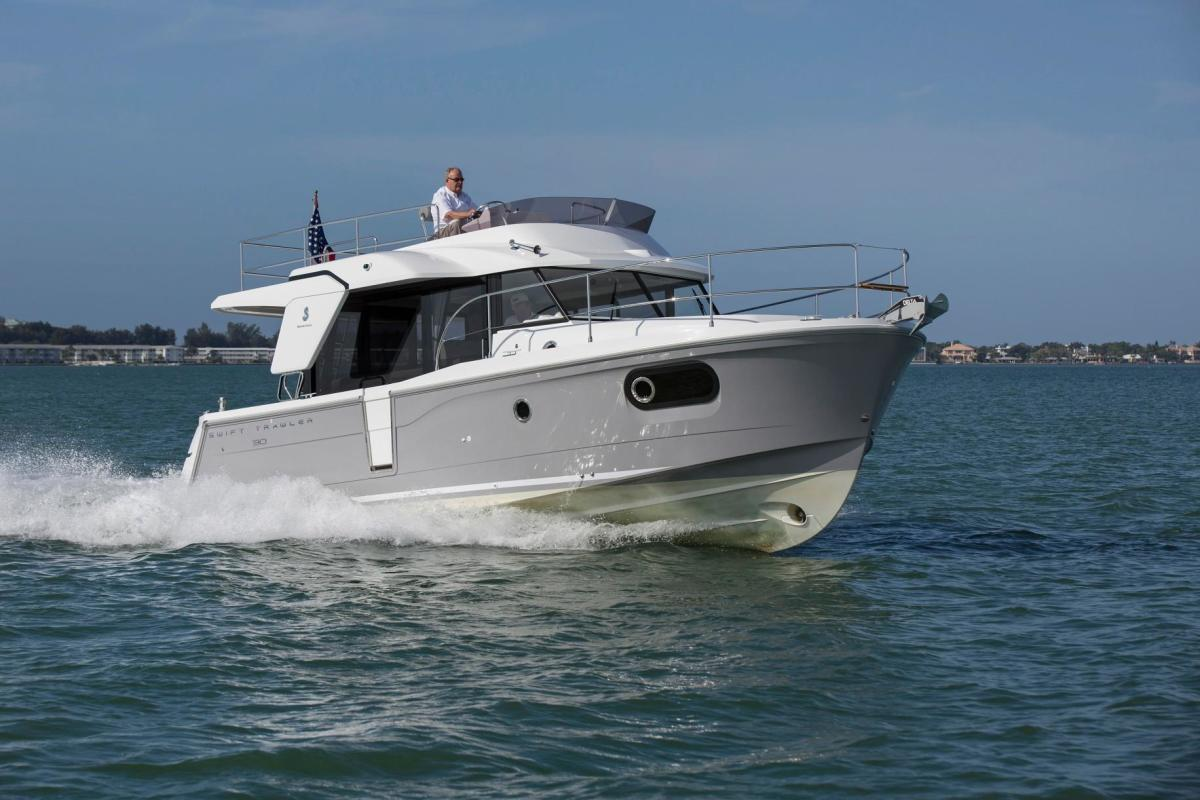 The smallest member of Beneteau's popular Swift Trawler family, the Beneteau Swift Trawler 30 has many of the cruising accouterments found in its bigger siblings, but in a smaller size.
