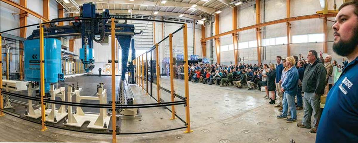 The 3D printer can produce objects 100 feet long by 22 feet wide by 10 feet high, printing up to 500 pounds per hour.