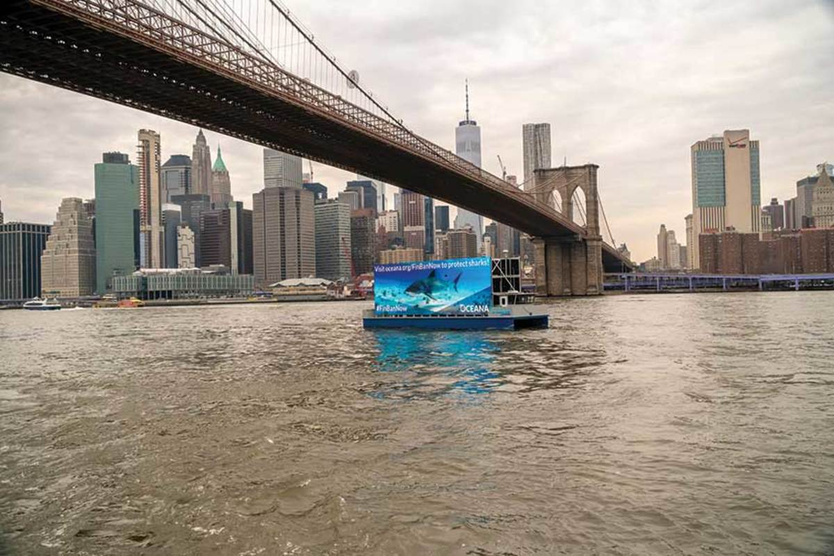 Floating billboards off Manhattan are making waters less safe for boaters.