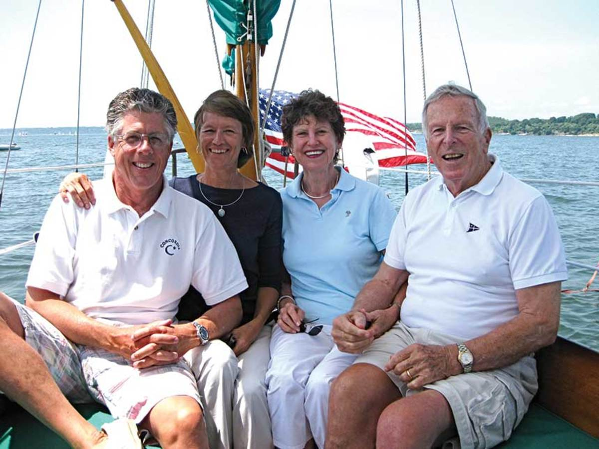 Dana and Carole Ann Brackett (left) with previous owner John Parsons and his wife, Carlotta.