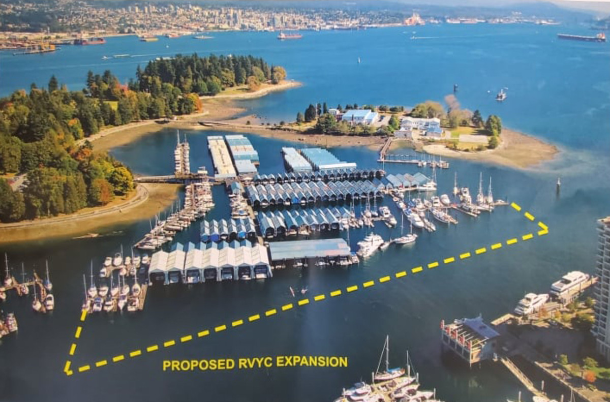 An aerial image shows the area that the Royal Vancouver Yacht Club would like to use to expand its dock area. The local rowing club objects to the scope of the expansion.
